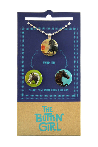 Magnetic Necklace with two interchangeable magnets - horses