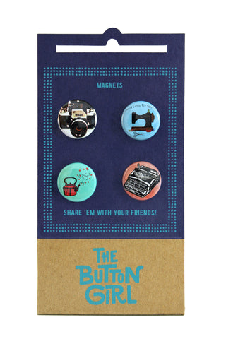 Four Magnet Set - camera, sewing, teapot, typewriter