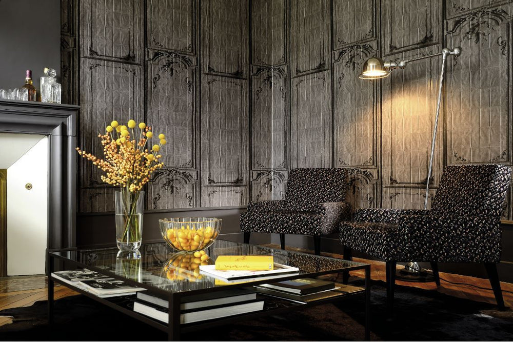 charcoal trompe l'oeil woodwork wallpaper