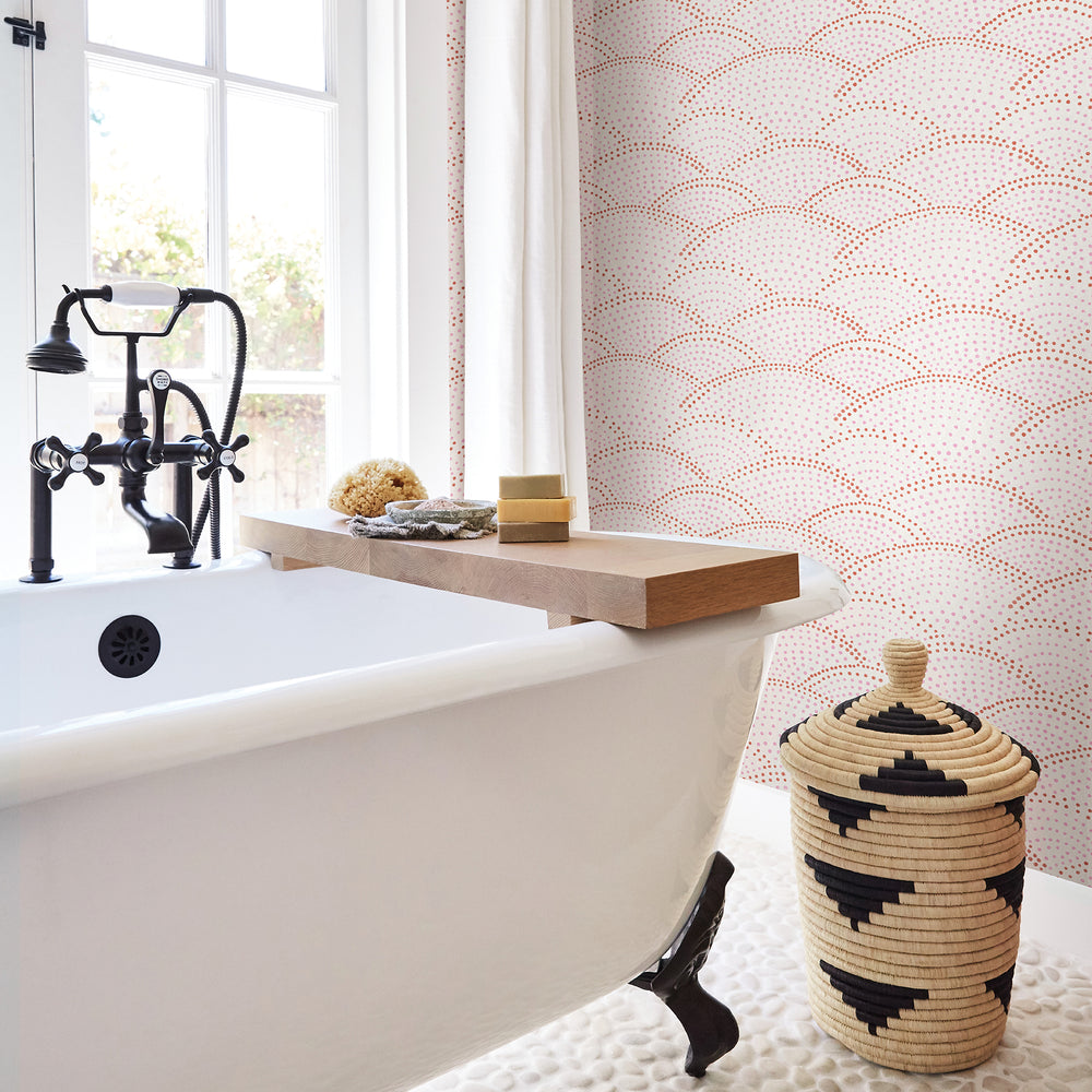 pink and white bathroom wallpaper