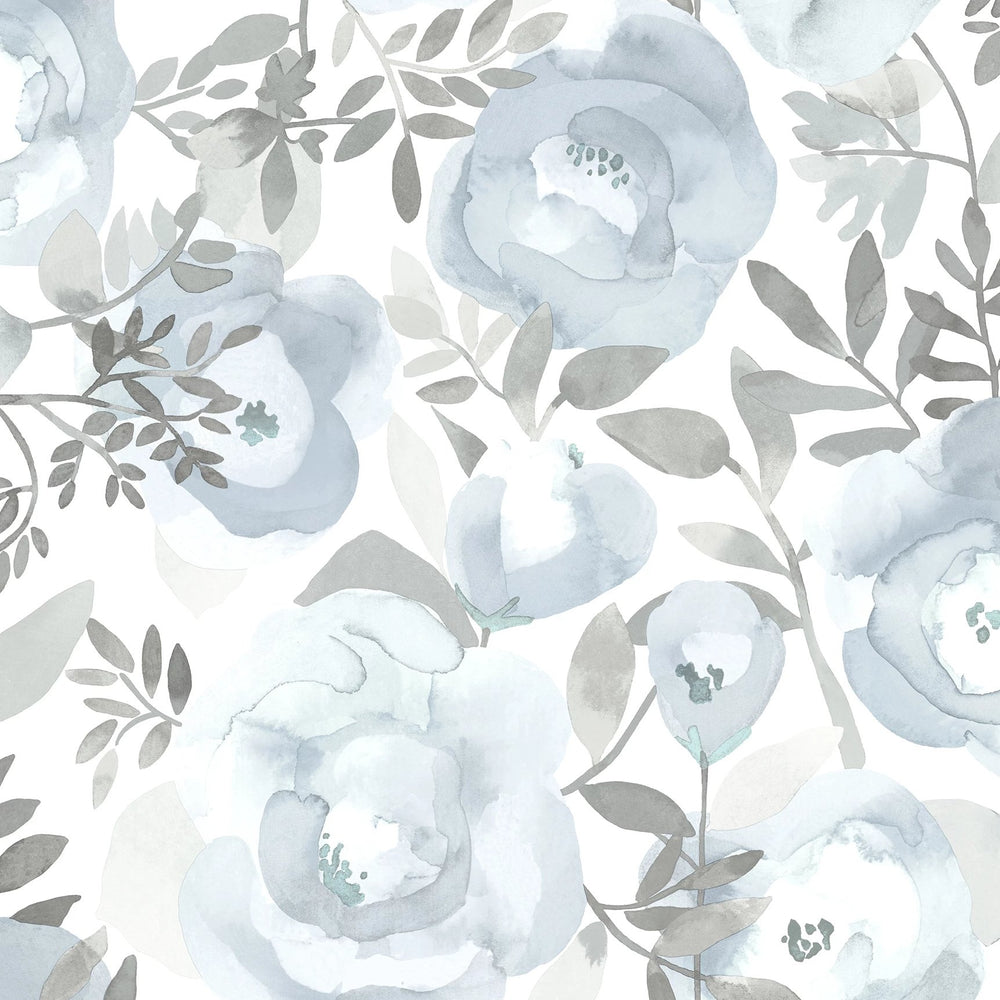 blue and grey rose wallpaper