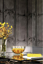 french inspired paper wrapped woodwork wallpaper