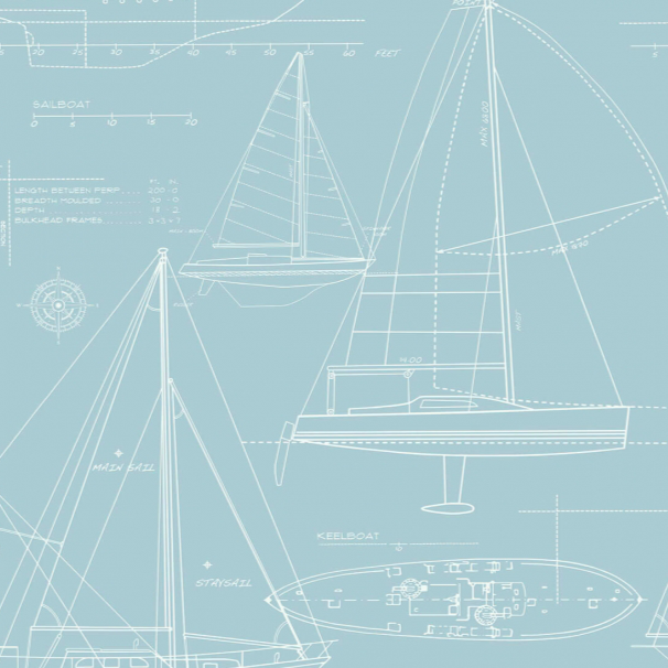 Yacht Blueprint Blue