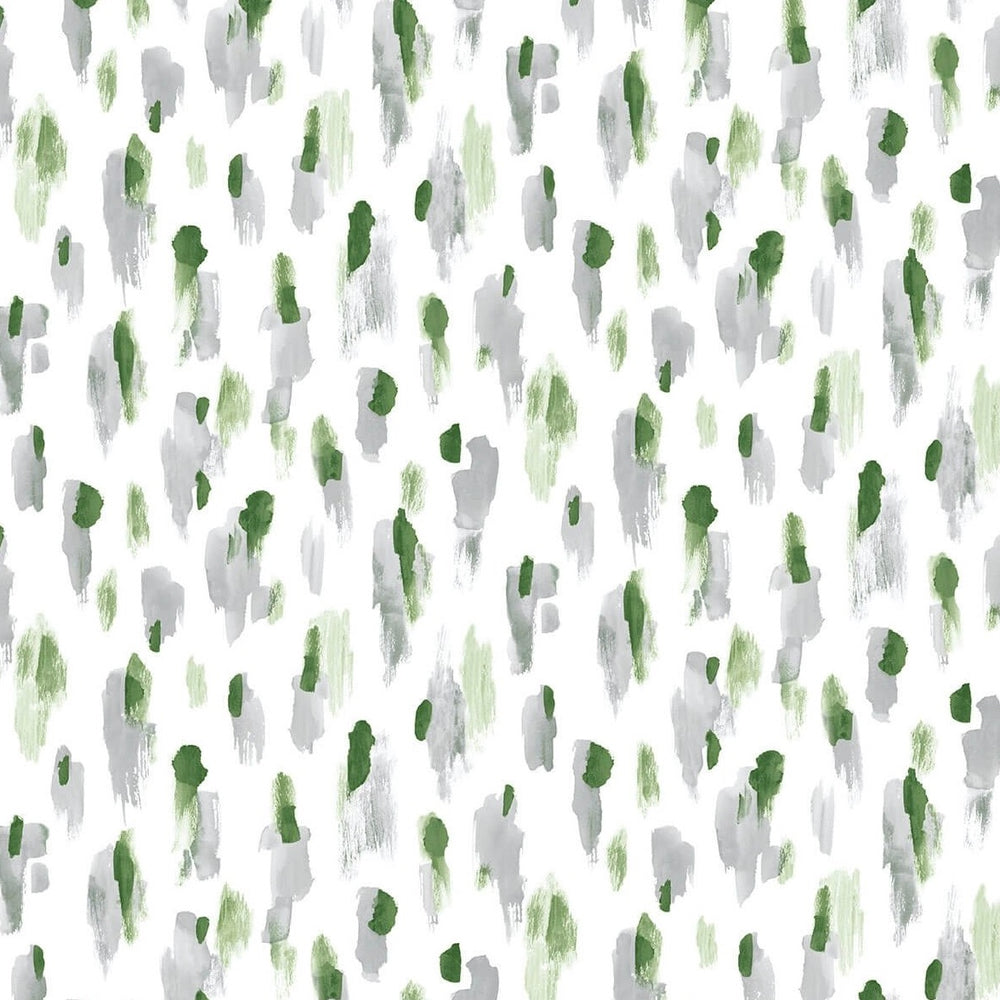 spotted wallpaper with green