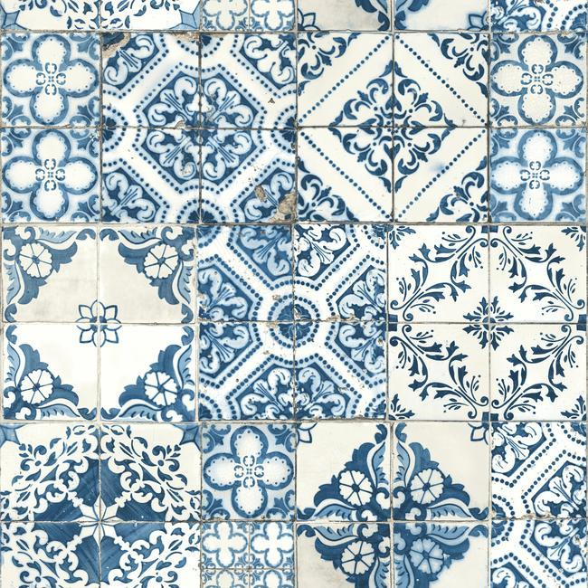 blue tile peel and stick wallpaper