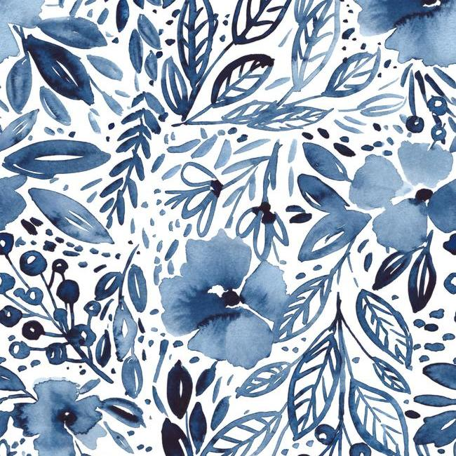 Blue Floral Peel And Stick Wallpaper Chelsea Lane Company