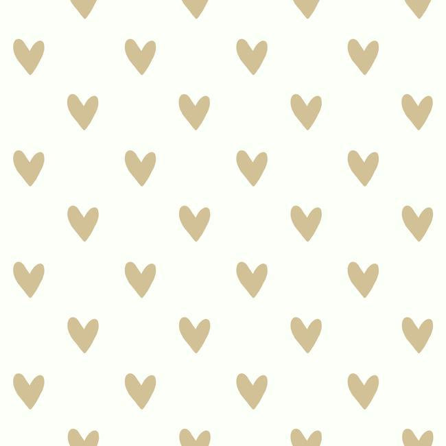 gold heart peel and stick wallpaper