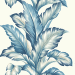 Blue Palm Stripe Wallpaper