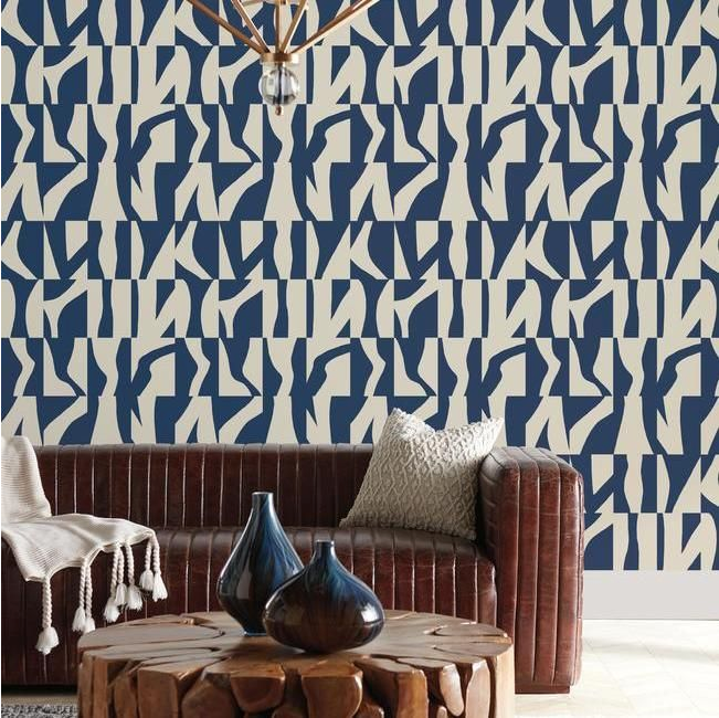 mid century modern navy wallpaper