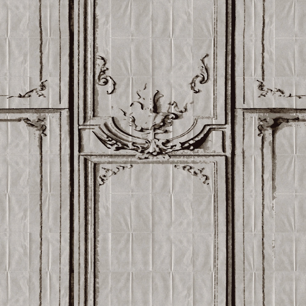 gray trompe l'oeil wallpaper