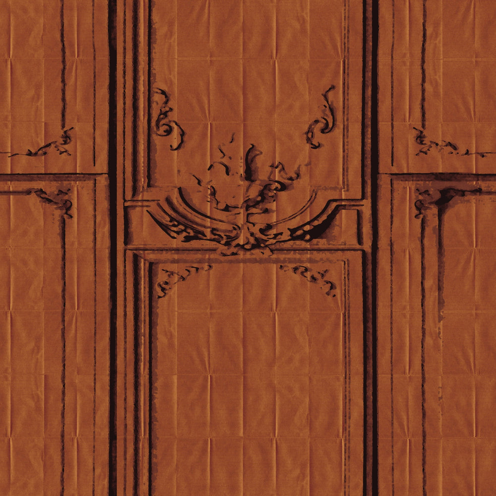 copper trompe l'oeil woodwork wallpaper