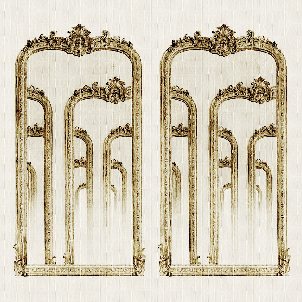 antique mirror trompe l'oeil wallpaper