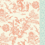 coral chinoiserie wallpaper