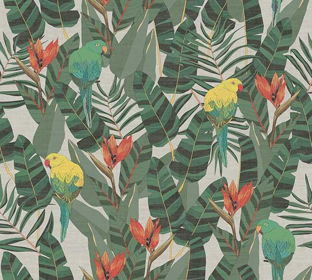 green red and yellow floral wallpaper