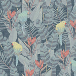 blue yellow and red floral bird vinyl wallpaper