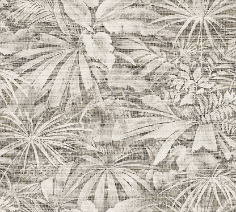 taupe palm jungle wallpaper