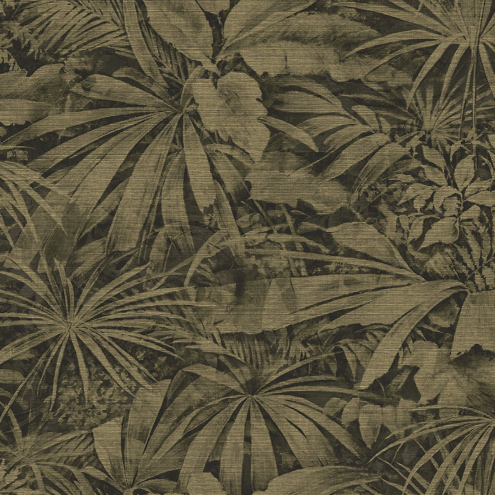 olive green palm vinyl wallpaper