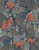 chic monkey wallpaper in blue and orange