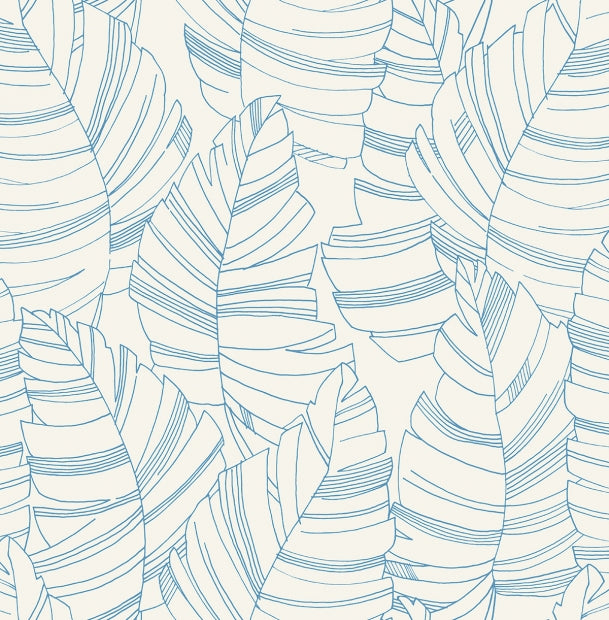 blue and white linear palm leaf wallpaper