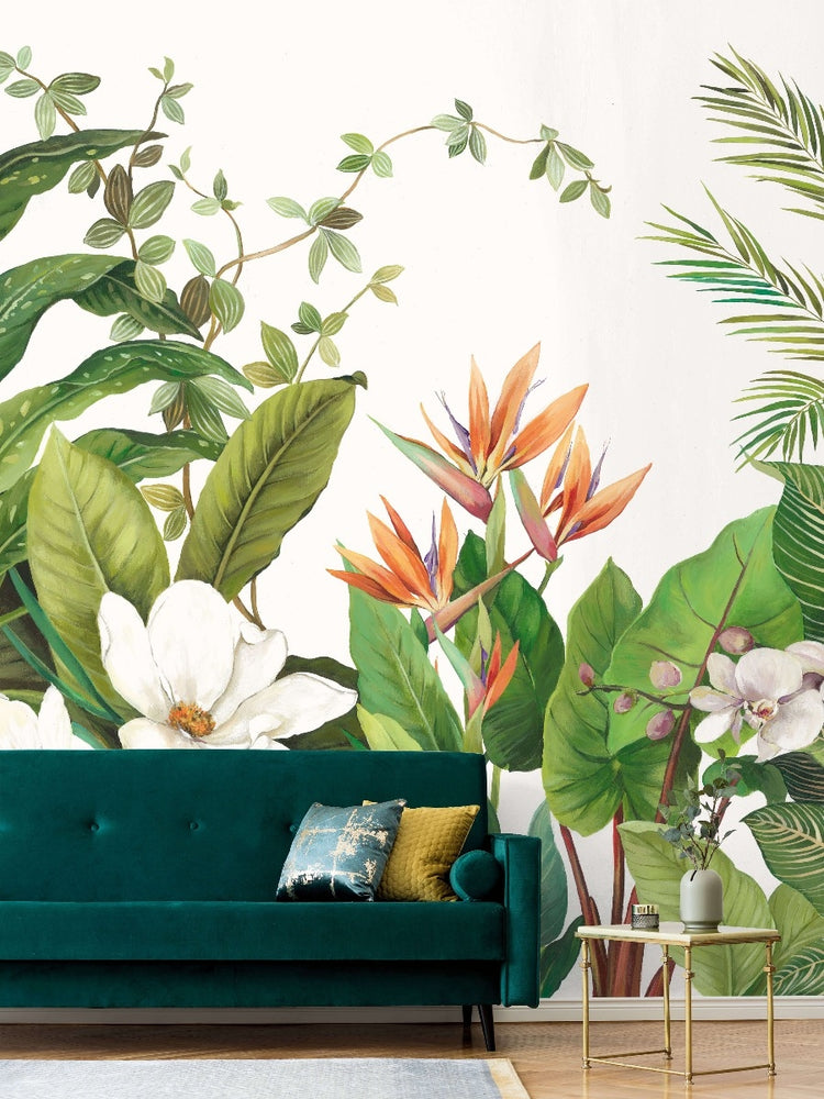 tropical palm leaf mural wallpaper