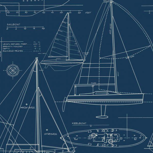 Yacht Blueprint Navy