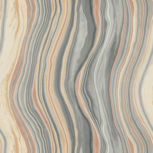 marble wallpaper in coral and gray