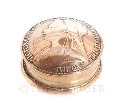 British Penny Queen Victoria Screw Lid Snuff Box / Pill Box / Keepsake / Gift - The Forger - 1
