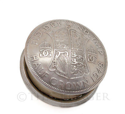British Half Crown King George VI Coin Screw Lid Snuff Box / Pill Box / Keepsake / Gift - The Forger - 1