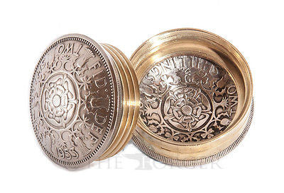 Two Shilling Coin Queen Elizabeth II Screw Lid Snuff Box /Pill Box/Keepsake/Gift - The Forger - 1