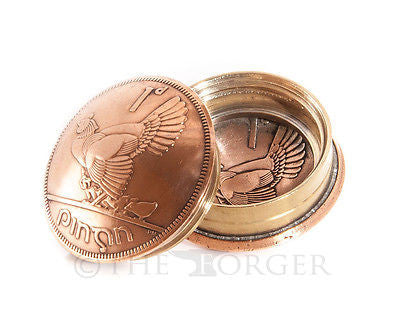 Irish One Penny Coin Screw Lid Snuff Box / Pill Box / Keepsake / Gift - The Forger - 1