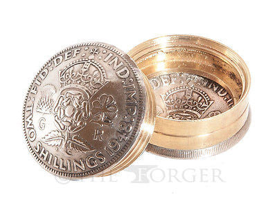 British Two Shilling King George VI Coin Snuff Box / Pill Pot / Keepsake / Gift - The Forger - 1