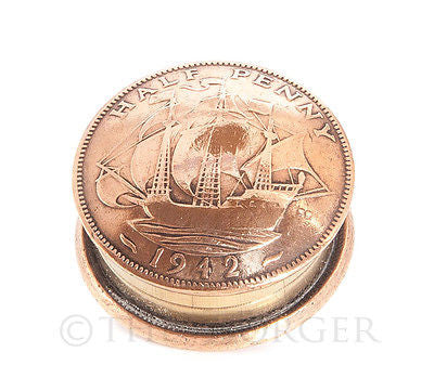 British Half Penny Coin Screw Lid Snuff Box / Pill Box / Keepsake / Gift - The Forger - 1