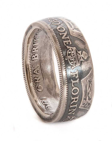 British Silver Florin Coin Ring - The Forger - 1