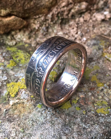 British Silver Half Crown Coin Ring - The Forger - 1