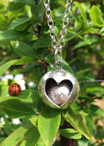 Heart Sphere Shilling & Threepence Silver Pendant