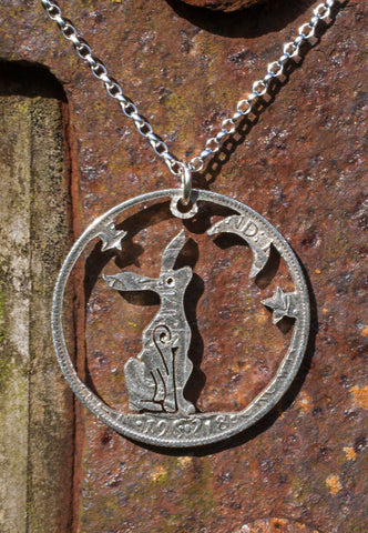 Moon Gazing Hare Silver Pendant Cut From A Silver Half Crown Coin