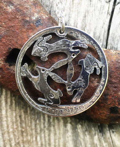 Three Hares Silver Pendant Cut From A Silver Half Crown Coin - The Forger