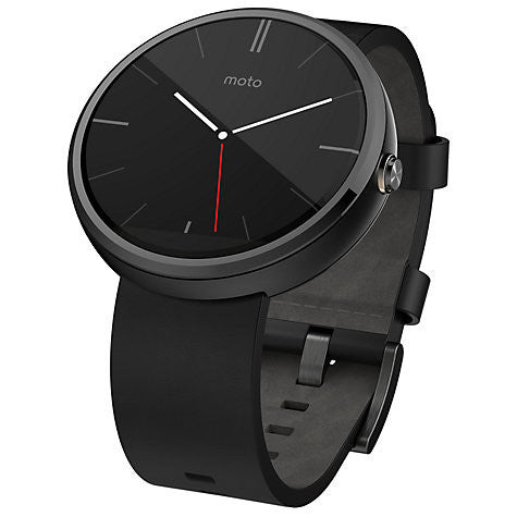 Motorola Moto 360 Smartwatch, Android Wear, Dark Case and Leather Band