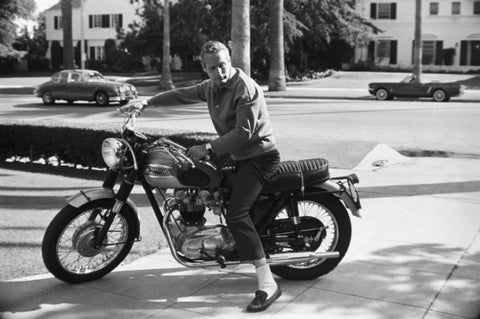 ‍‍Paul Newman on his Triumph motorcycle at home, 1965. photo © David Sutton