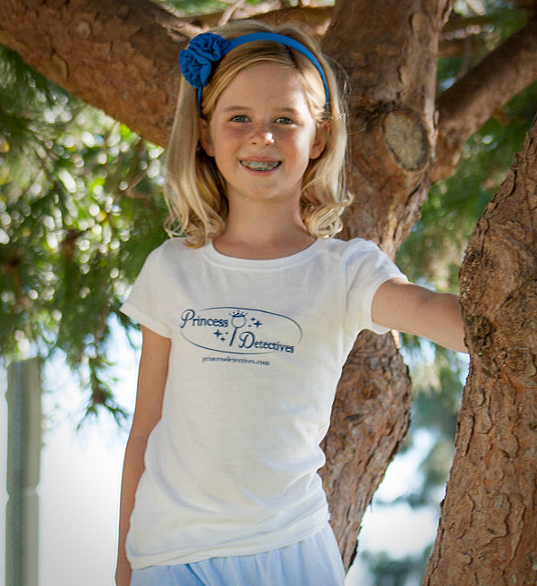 Princess Detectives Fitted Shirt- White with Blue Logo