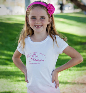 Princess Detectives Fitted Shirt-White with Pink Logo