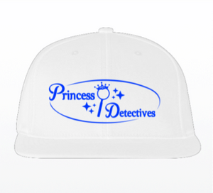 Princess Detectives Hat White With Blue Logo- Adjustable Strap In Back