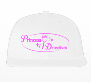 Princess Detectives Hat White With Pink Logo- Adjustable Strap In Back