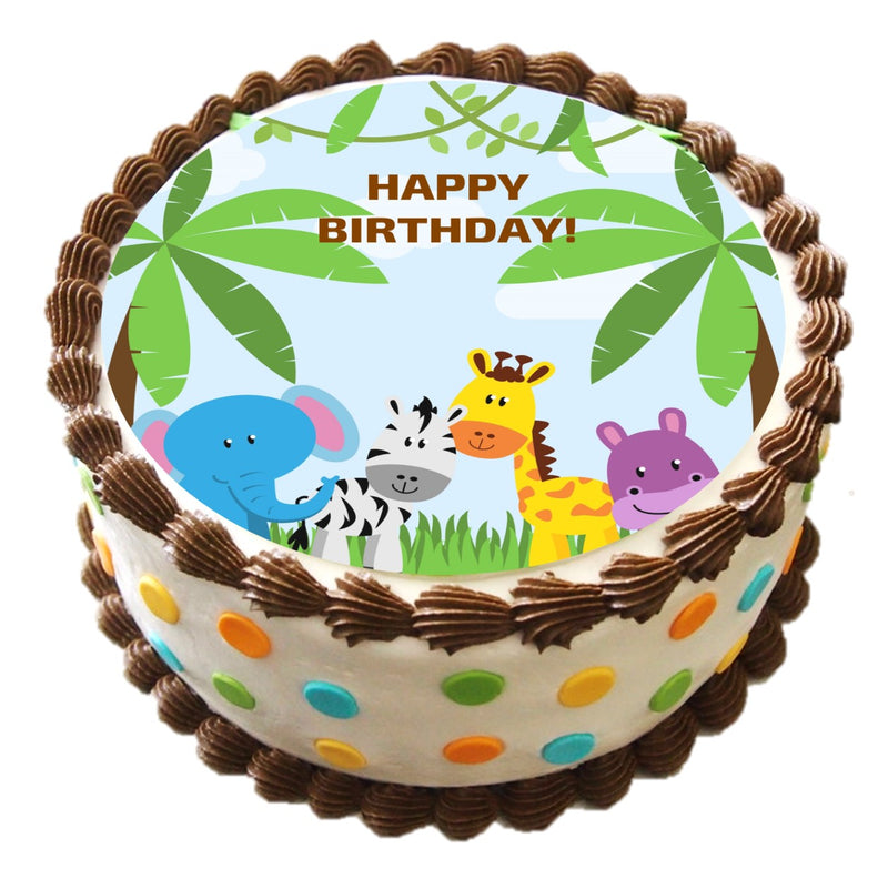 Baby Jungle Animals Cake Topper, 6-inch Round, on 100% Recycled PCW Paperbard