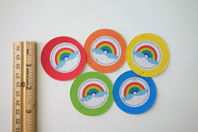 Rainbow Colors 2-inch Themed Tags, Circle (Tree Free Banana Paper!) - 12 per pack