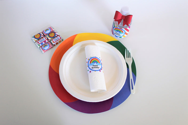 Rainbow Colors Placemats (8-pack, 100% Cotton Paper)
