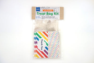 Rainbow Colors Compostable Treat Bag Kit (pack of 8, plant-based plastic bags)