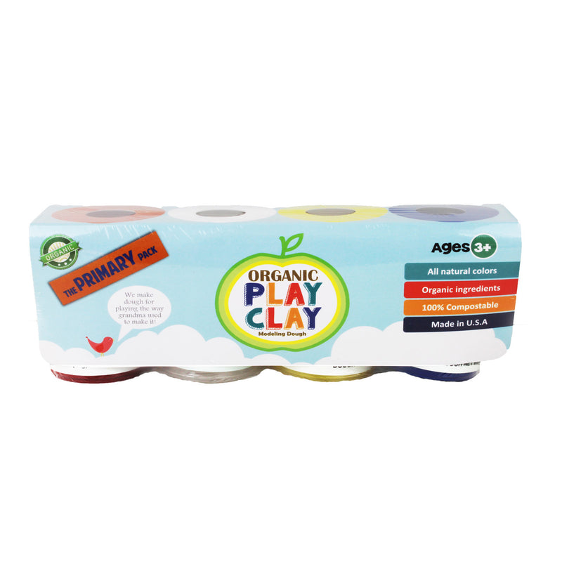 Organic Play Clay, 4-Pack (Primary Colors)