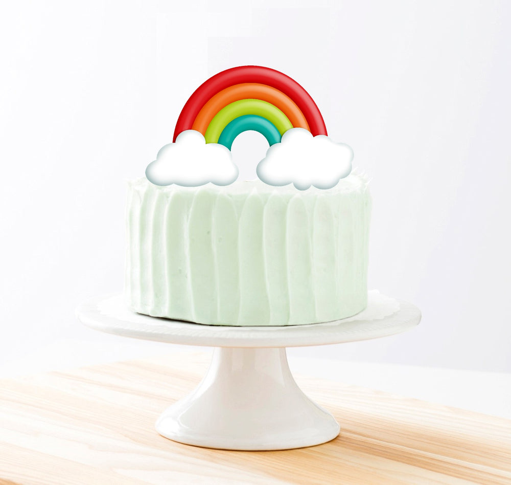 Rainbow Colors Cake Topper, 6-inch Round, on 100% Recycled PCW Paperbard