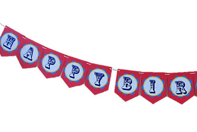 Circus Theme Happy Birthday Banner (8-ft, printed on Banana Leaf Paper)